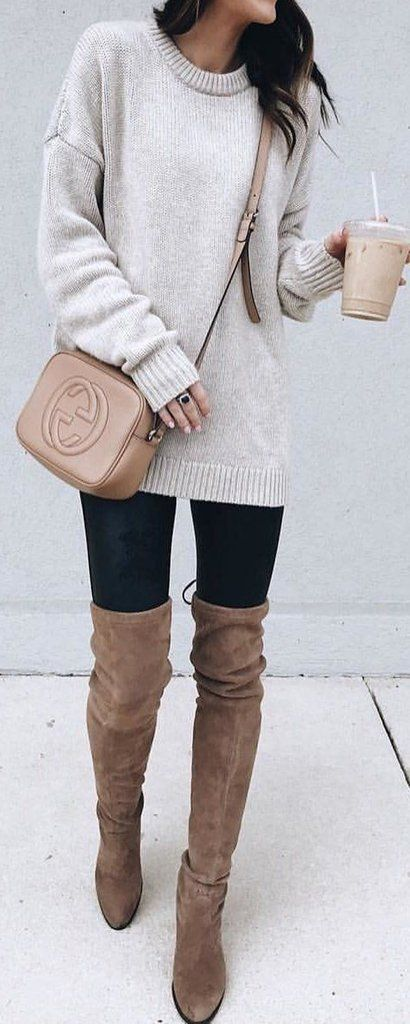 be32e182e8 Cute Comfortable Winter Outfit Ideas for Teenagers for School for College  with Leggings with Thigh High Boots with Oversized Sweater - www.
