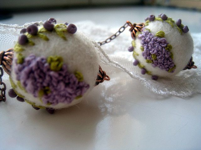 Embroidered felt bead earrings, via Flickr. ok not a tutorial but i definitely want to make these!