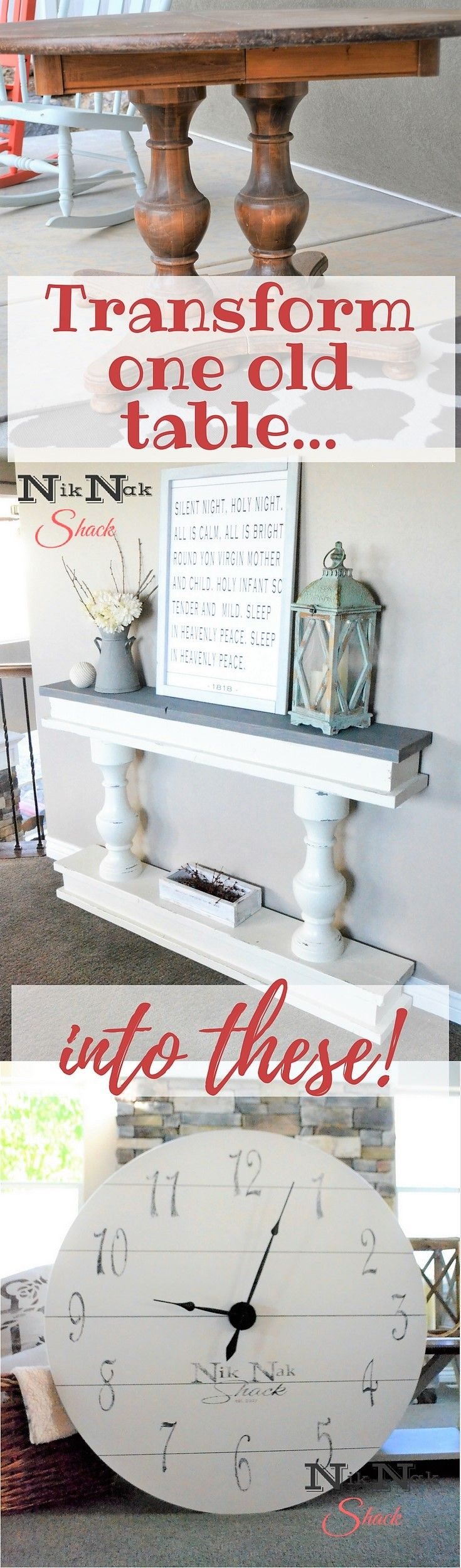 DIY Furniture- Make a new table and clock out of an old table! #diyfurniture #furnituremakeover #farmhousefurniture
