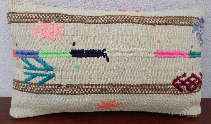 12x20 Sofa Kilim Lumbar Pillow Cover,Vintage Hand Made Farmhouse Kelim Cushion #Handmade #Ethnic