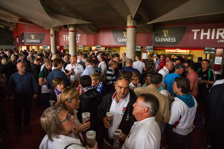 A busy area on the England v Wales match day at Twickenham Stadium