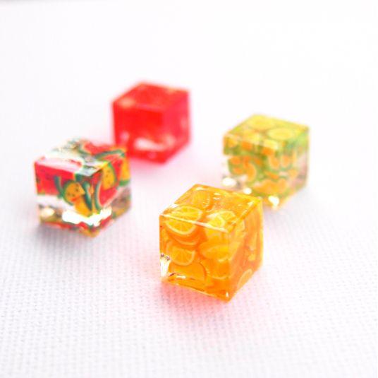 フルーツ氷 - 熊本特産ver. - ピアス イヤリング earrings キューブ cube レジン resin