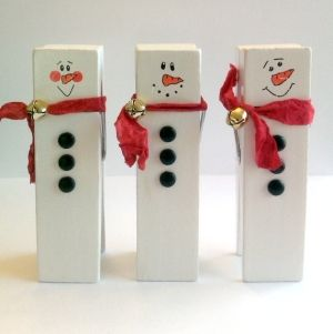 """41/2"""" Clothespin snowmen by guadalupe"""
