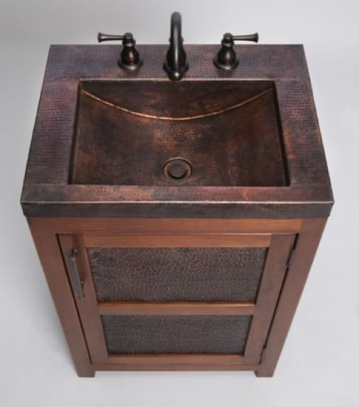 *sigh* in love with this from Thompson Traders - VTS Petit Rustic Bathroom Vanity & Copper Sink includes drain [VTS] from Wave Plumbing website