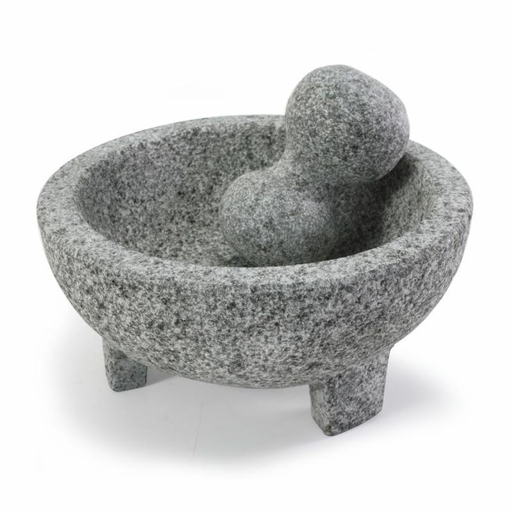 Mexican-style molcajete is great for making guacamole, pesto, fresh and dried herb mixes, dips and more. Rough surface is designed to crush the flavour out of fresh or dried herbs and spices. Heavy, well-balanced, and suitable for rigorous pounding and grinding.