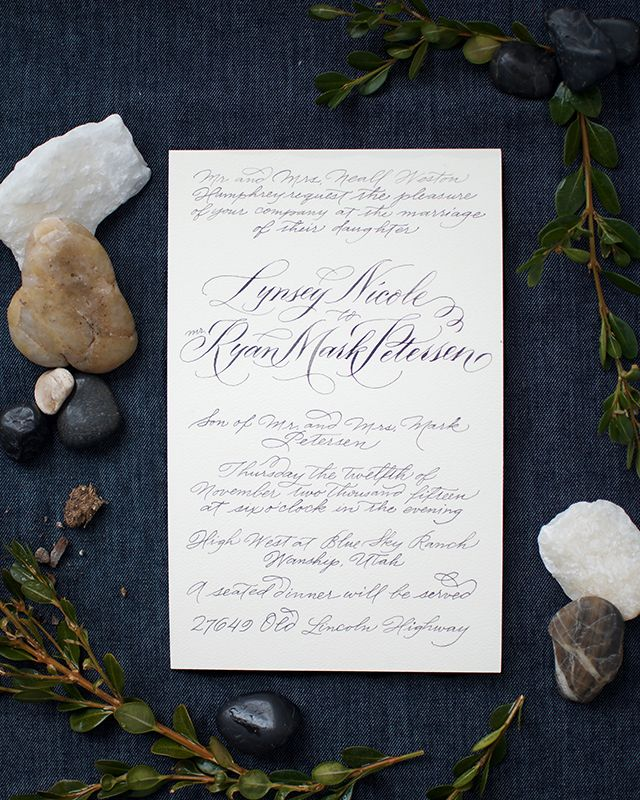 classic, hand calligraphed wedding invitations   image via: oh so beautiful paper