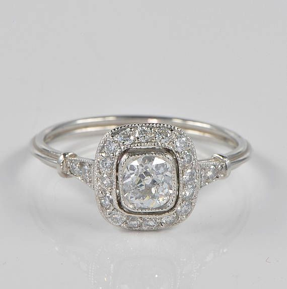 Stunning Art Deco Diamond Target Platinum Ring Art Deco Diamond Vintage Inspired Jewelry Deco Jewelry