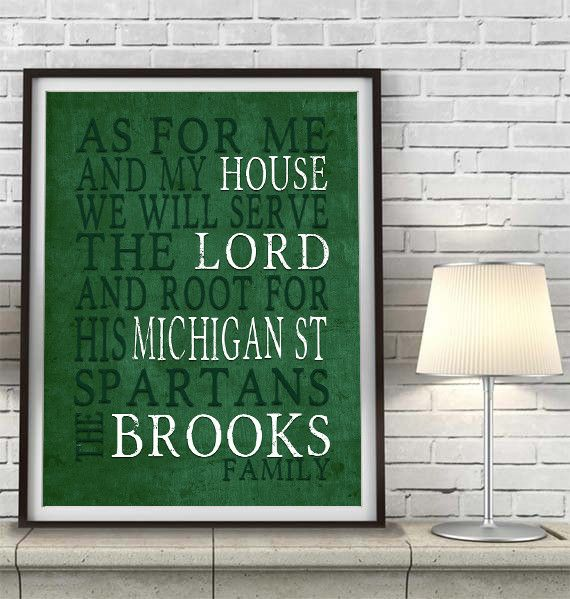 """Michigan State Spartans Customized Art Print- """"As for Me"""" Parody- Unframed Print #spartans #Michiganstate #mancave"""