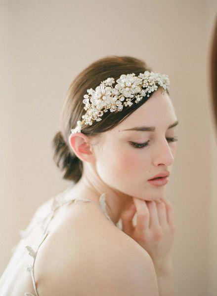 Golden flower and rhinestone headpiece - Style # 240 - Ready to Ship | Headpieces | Twigs & Honey ®, LLC