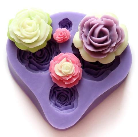 Molde de Silicone 4 Tipos de Rosas em 3D para Preparo de Sabonete,Chocolate, Biscuit, Fondant