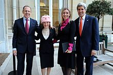 Jen Psaki - Wikipedia - Psaki with Russian counterpart Maria Zakharova, U.S. Secretary of State John Kerry and Russian Foreign Minister Sergey Lavrov in Paris, 13 January 2014