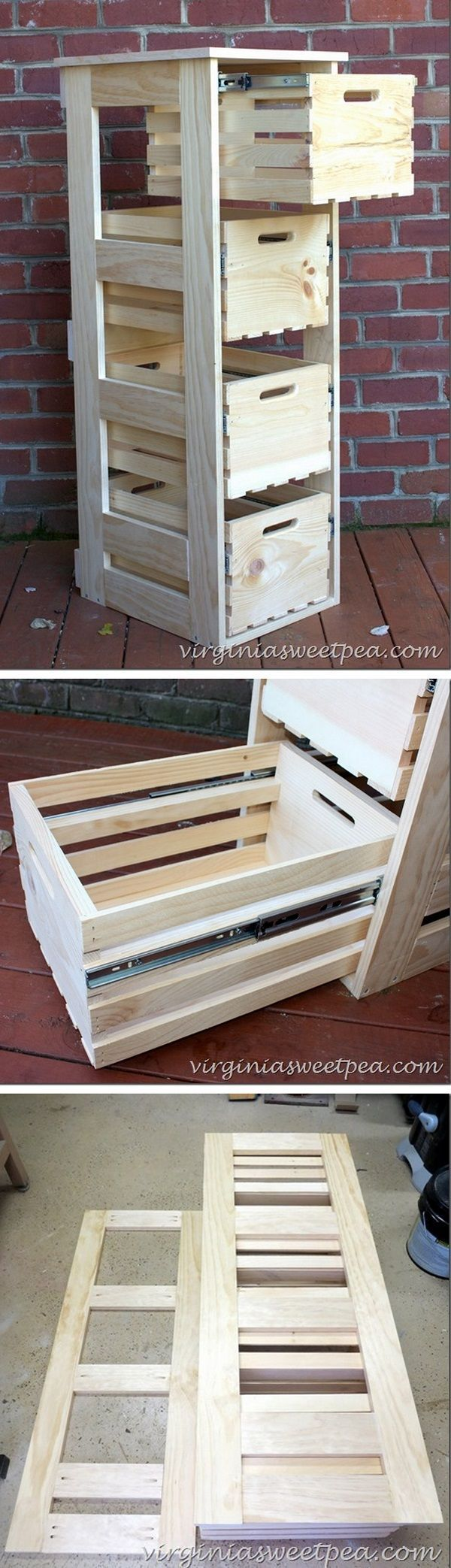Wooden crates like this to paint.. light gray and disguise bank boxes of paint supplies.... storage options for paint supplies