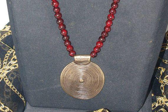 Bordeaux & Black Glass Bead Necklace Bronze Necklace