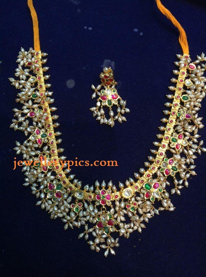 Antique Guttapusalu necklace by Konadia jewellers - Latest Jewellery Designs