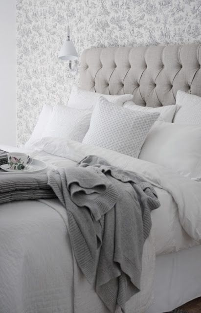 CanCan the blog: September 2012 grey and white, tuffted headboard love love love