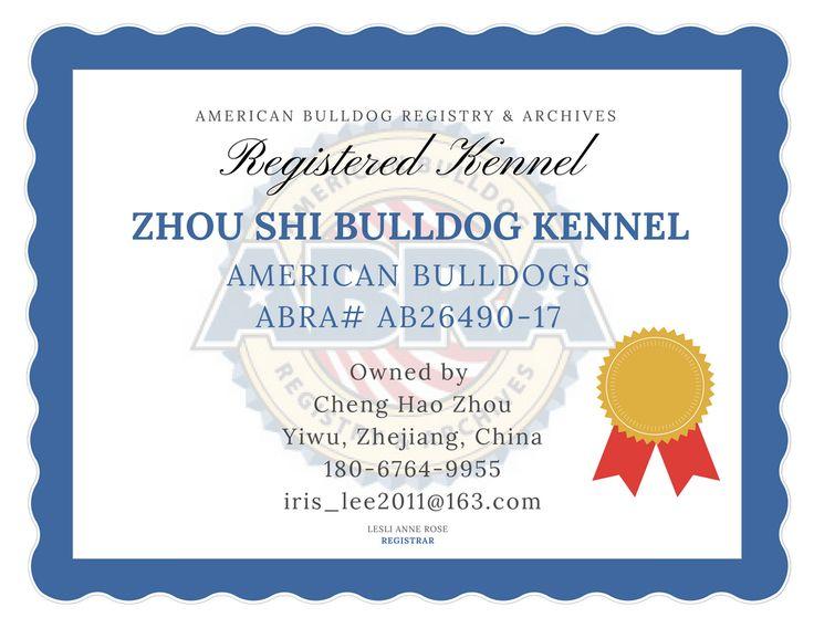 ABRA Registered American Bulldogs in China!