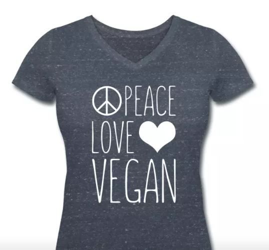Peace Love Vegan Women T-Shirt #vegan #veganfashion #veganquote #fashion