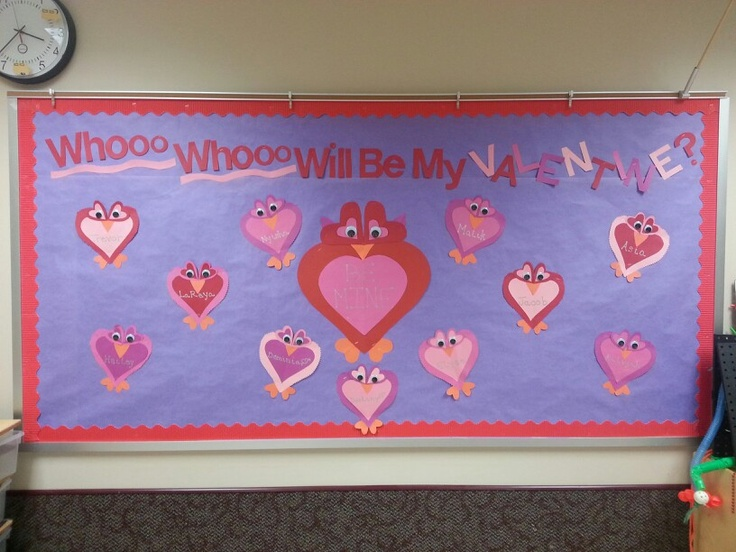 My Valentine's Day board. The owls are made entirely of different sized hearts.