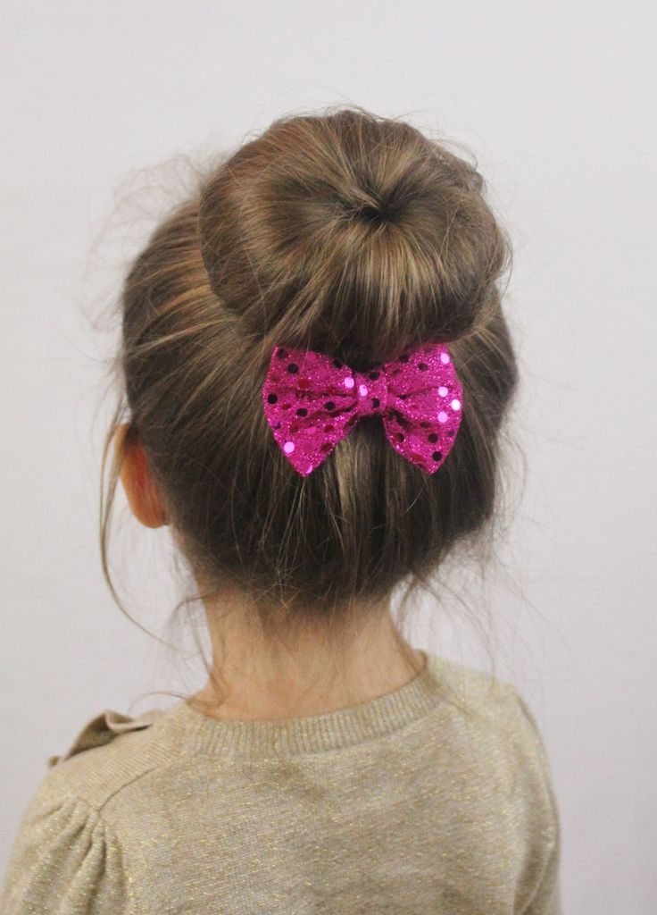 Sock Bun Hairstyle For Little S Add Purple Ribbon Around And Tie Now At Bottom Letting String Hang Down