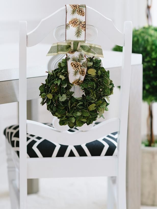 Festive chair swag for your holiday celebration>> http://www.hgtv.com/handmade/8-festive-holiday-chair-swag-ideas/pictures/page-5.html?soc=pinterest
