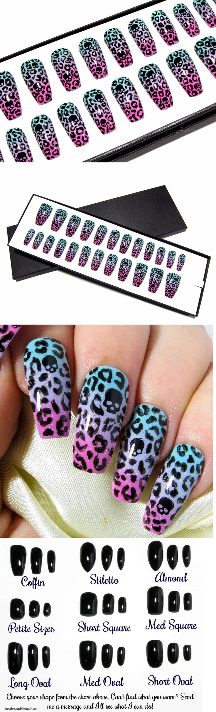 Press-On Nails: Hand Painted Pastel Nail Art Press Glue On Coffin Full False Fake Acrylic Nails BUY IT NOW ONLY: $39.99