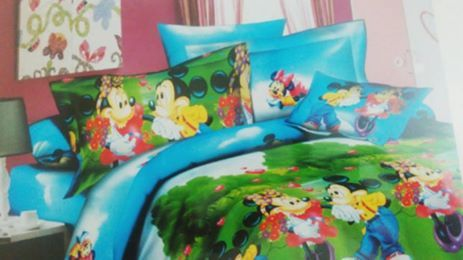 For all Mickey Mouse fans from #KrtiFab -  Mickey Mouse fans would be delighted to have this kids' bed set in green color. Lending it its eye-catching appeal is the 'Minnie-Mickey Mouse' print on it, while the fabric promises a comfortable sleep.