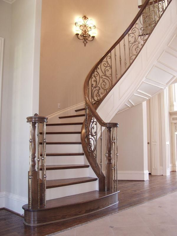 Brushed Nickel Railing With Darker Wood Also Like The