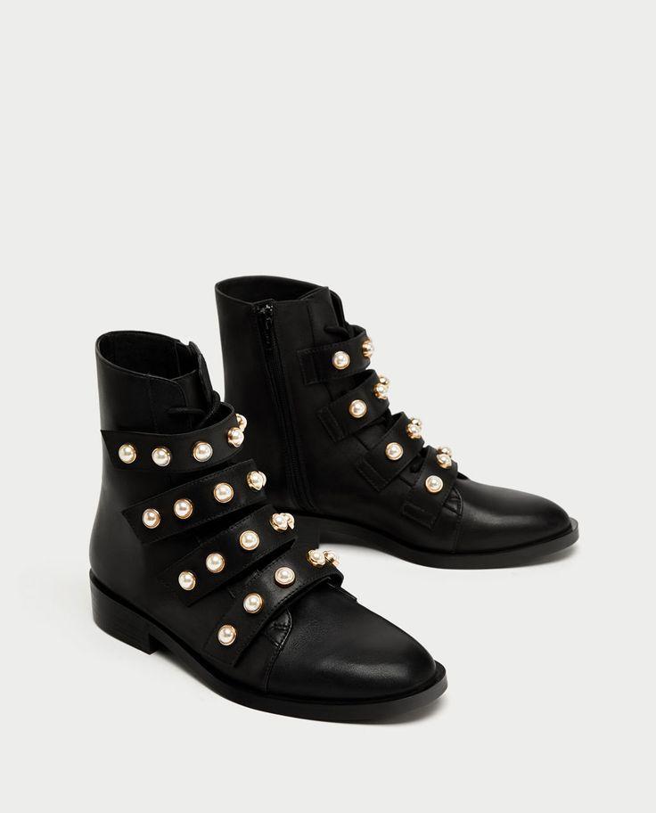 Abstand wählen offizieller Shop im Angebot Zara - Damen - Stiefeletten aus Leder mit Perlmuttperlen ...