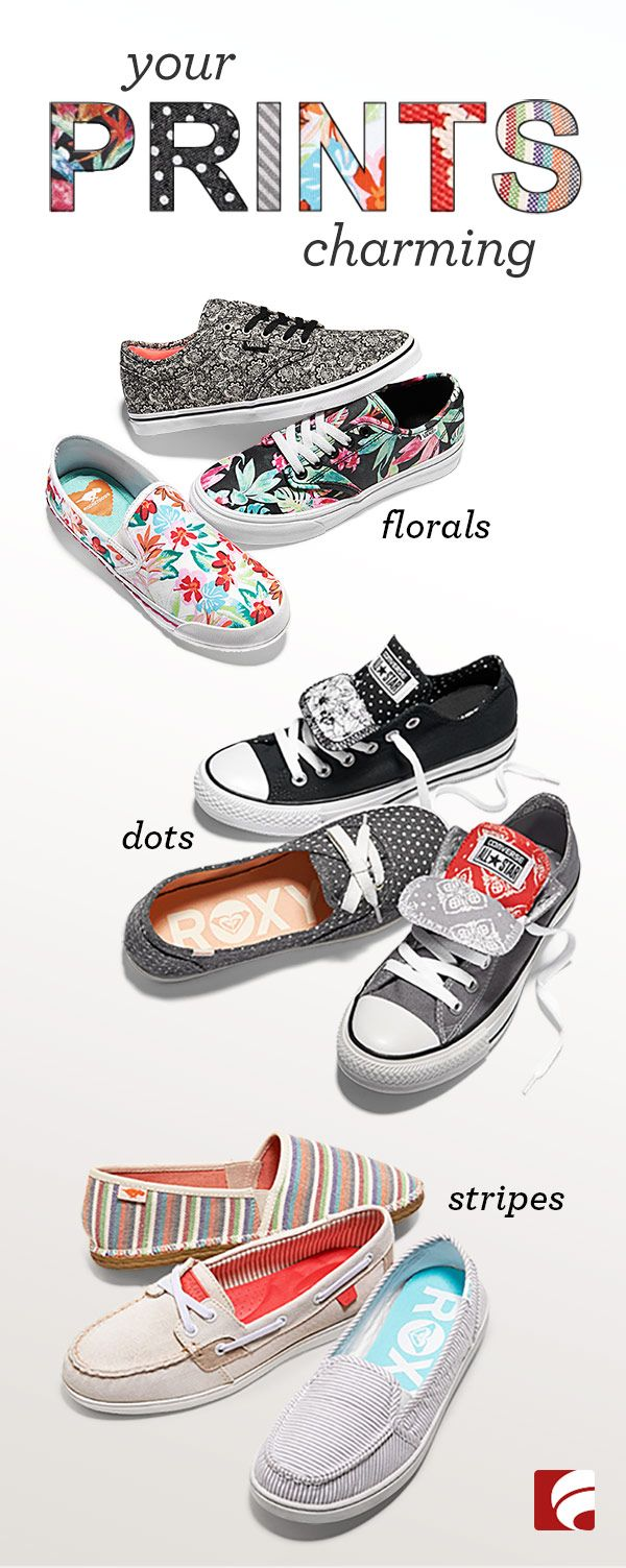 Your favorite canvas shoes just got a major makeover. Florals, dots, and stripes jazz up these simple styles... so start hunting girls, the perfect PRINTS await (white horse not included)!
