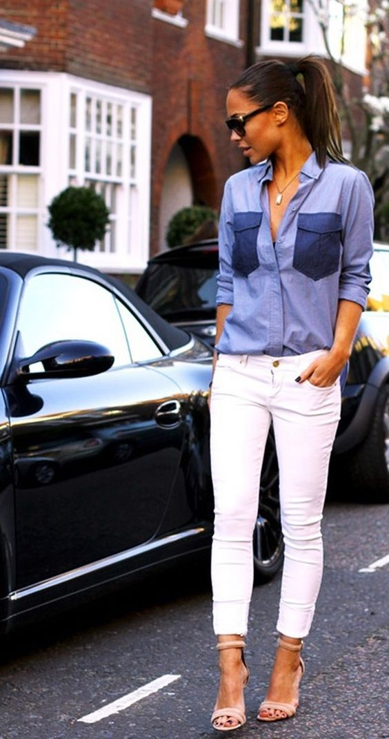 white+jeans+++blue+shirt+is+the+most+awesome+summer+office+outfit+idea