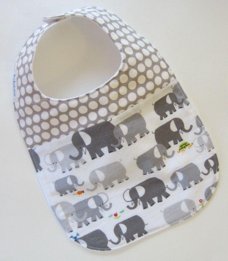 2-fabric Baby Bib, Elephants Spot On, Babiease Baby Boutique, Custom Baby Gift Sets