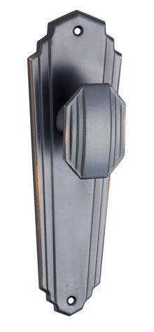 art deco door handle lock in antique copper finish