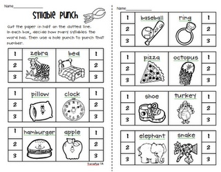 Syllable Punch - kids would love to get to use the hole punch!  Syllableness