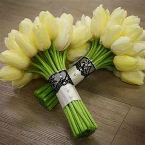 french tulip bouquet with black lace overlay  florverde.com
