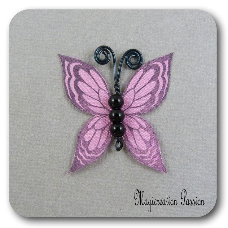 papillon 3.5 cm soie rose corps de perles noires et métal noir-Ysatis : Décoration d'intérieur par les-tiroirs-de-magicreation-passion