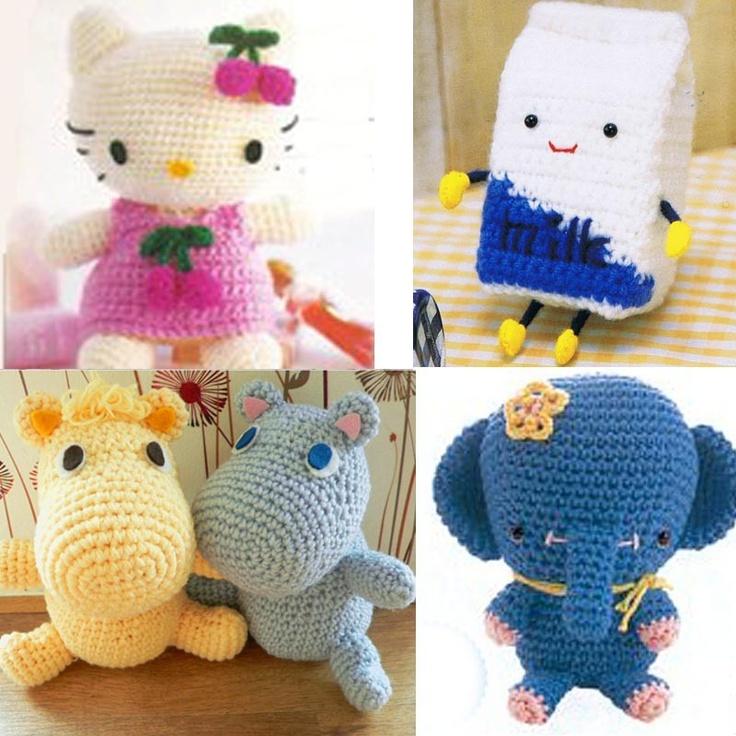 Amigurumi Elephant Hokkaido Milk Box Kitty Moomin Crochet Pattern Collection