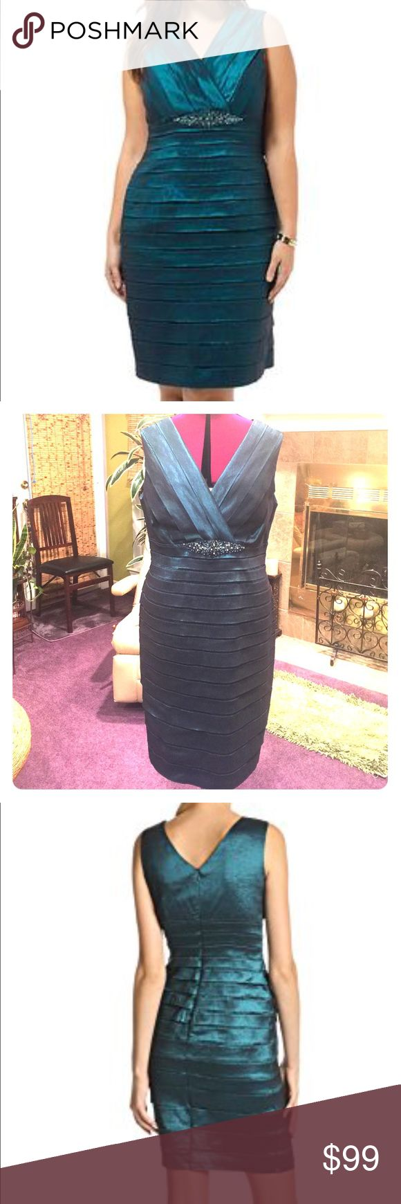 NWOT Jessica Howard 14W shutter pleat dress NWOT Jessica Howard 14W shutter pleat teal special occasion dress. Very flattering. Never worn except for me to try it on & screech, OMG, this fits perfectly & looks soooooo sexy!  Alas, I took the tags off and then the special event I bought it for didn't happen. Still iffy on selling such a perfect dress but I might be willing to let it go... ❤️❤️❤️ Jessica Howard Dresses