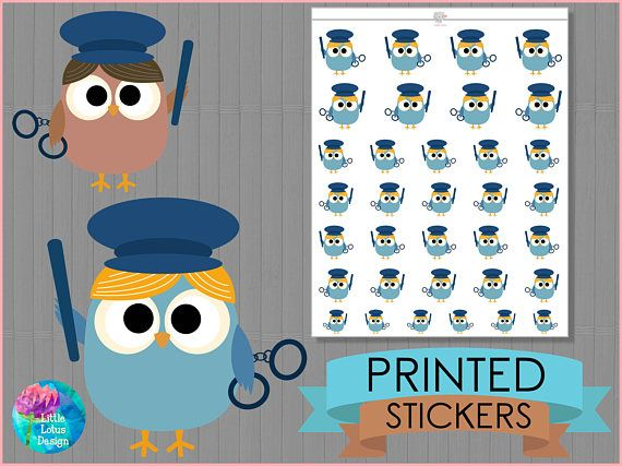 Police Stickers - Cute Owl, planner stickers, diary, erin condren, happy planner, job, police, occupation