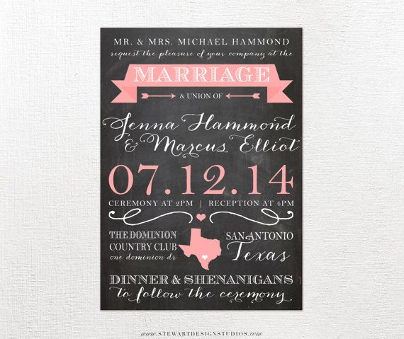 20 best Wedding invitations images on Pinterest Invitation ideas - chalk board invitation template