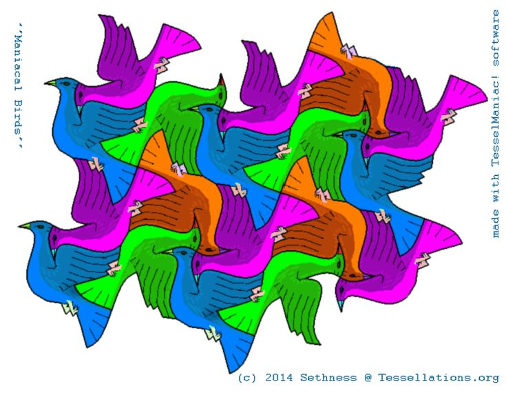 Bird tessellation made with TesselManiac!-$30 for educational version