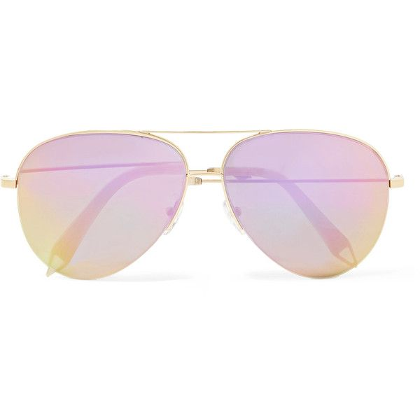 Victoria Beckham Aviator-style gold-tone mirrored sunglasses ($430) ❤ liked on Polyvore featuring accessories, eyewear, sunglasses, glasses, sunglasses/glasses, pink, pink aviator sunglasses, ski sunglasses, aviator sunglasses and mirror sunglasses aviator