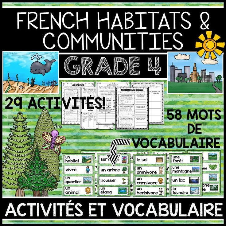 THIS UNIT IS PART OF A GROWING BUNDLE, WHICH WILL INCLUDE ALL FOUR GRADE 4 SCIENCE UNITS IN FRENCH. SAVE 20% WITH THE BUNDLE.  This file includes a Grade 4 French Science Unit for Habitats and Communities (LES HABITATS ET LES COMMUNAUTÉS). The unit includes 58 word wall labels and 29 activities.