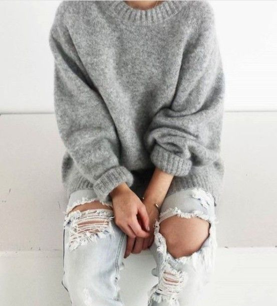 Sweater: grey grey knitwear oversized boyfriend jeans ripped jeans heavy knit jumper weather winter