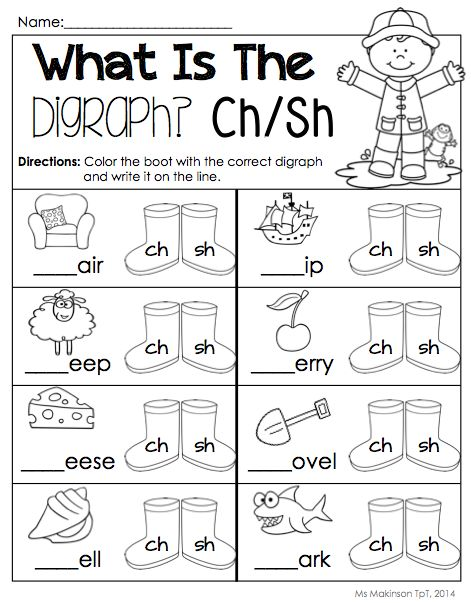 $ April Printable Packet - Kindergarten Literacy and Math. Digraphs (ch/sh)! [Ms. Makinson]