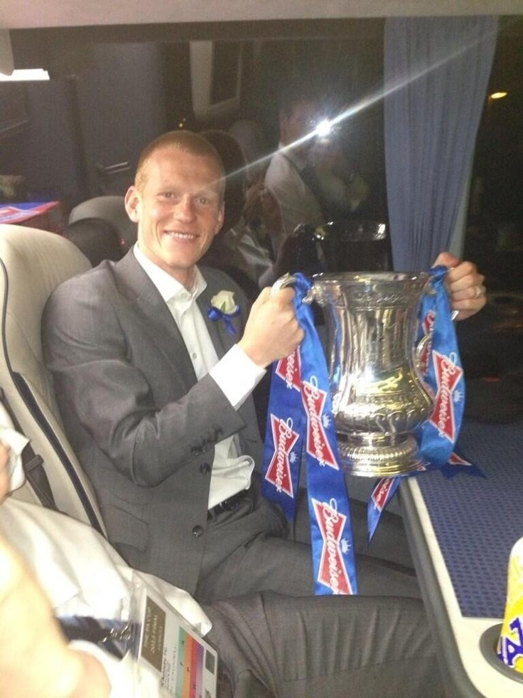 Ben Watson on team coach with FA Cup
