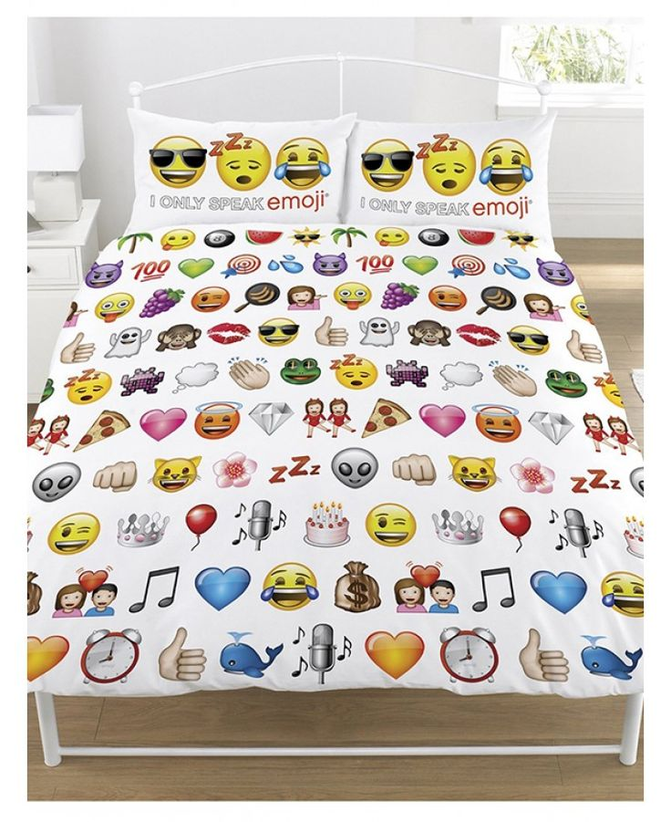 This official reversible Emoji single and double duvet cover sets feature all your favourite Emojis including the See-No-Evil Monkey, Alien, Pizza and Hearts in a repeated pattern on a white background on the front side, whilst the reverse side features all the smileys.