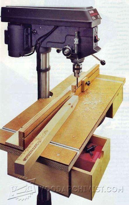 Drill Press Table Plan - Drill Press Tips, Jigs and Fixtures | WoodArchivist.com