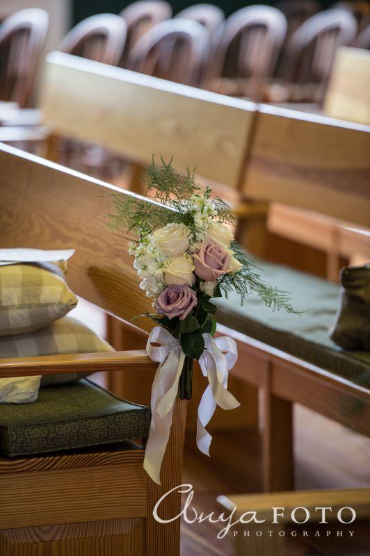 Wedding Ceremony Decor anyafoto.com #wedding, church wedding, indoor wedding, wedding ceremony decor ideas, flowers on pews, roses on pews