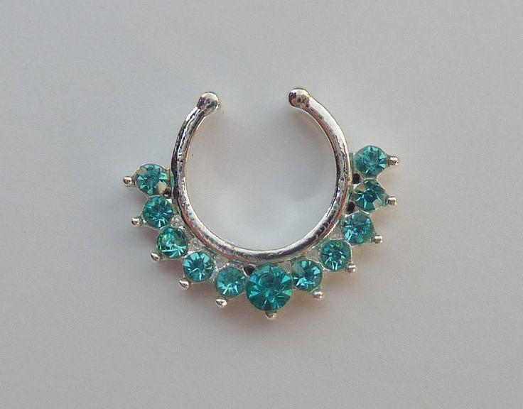 Fake septum ring, fake titanium septum ring, blue fake nose ring, crystal fake titanium nose ring, fake nose ring, fake septum ring, S28