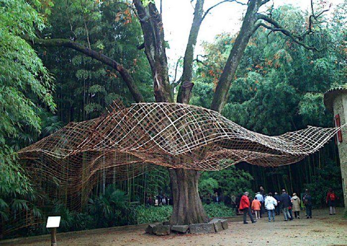 sonnensegel sternform kunst skulptur bambus